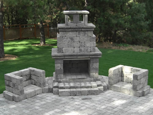 Old-Stone Fireplace Patio